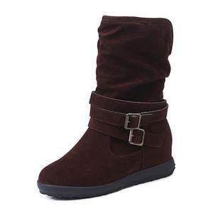 Minetom Femmes Automne Hiver Chaud Peluche Doublé Bottes Rétro Mode Boucle Chelsea Bottes Antidérapant Chaussures Martin Boots 1MiqzFO