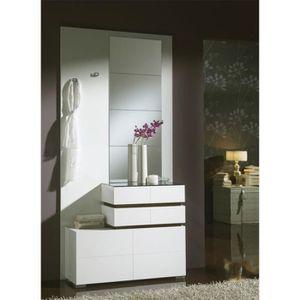 MEUBLE D'ENTRÉE Meuble d'entrée Blanc/Chêne foncé + miroirs - VANA