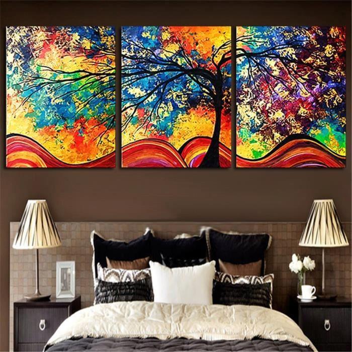 Tableau d\'art d\'arbre coloré de toile de HD pour le salon aucune ...