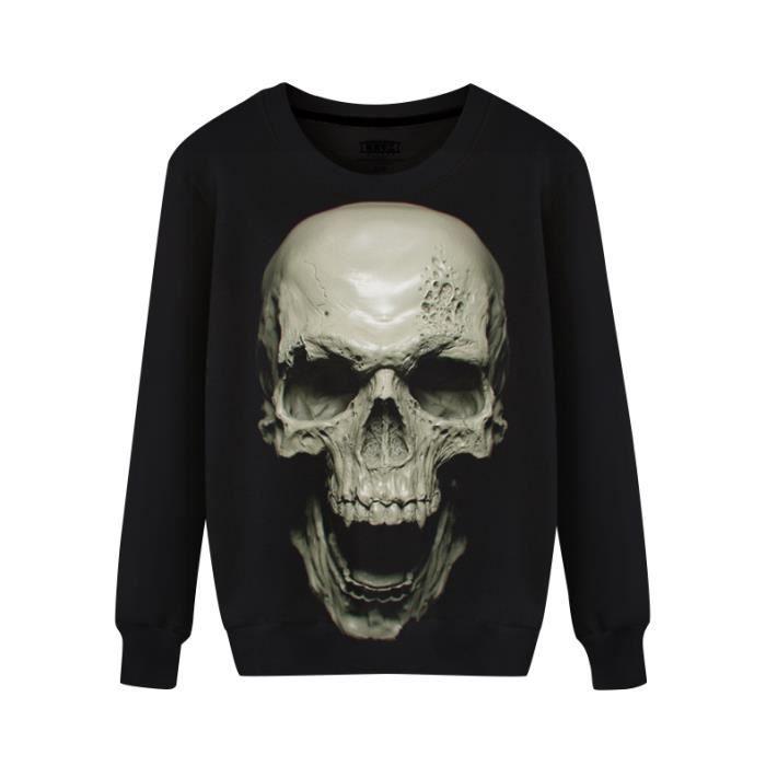 2f1be951e34a Sweat-shirt homme vêtement noir Imprimé tête de mort effet 3D Col rond  casual