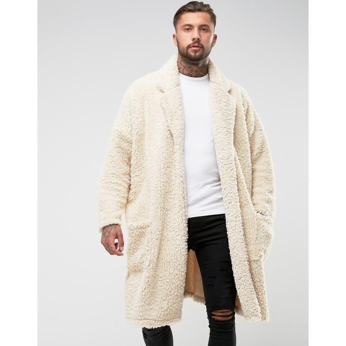 Craze Manteau long ultra oversize imitation peau de mouton HS27O ... 2b769db2179