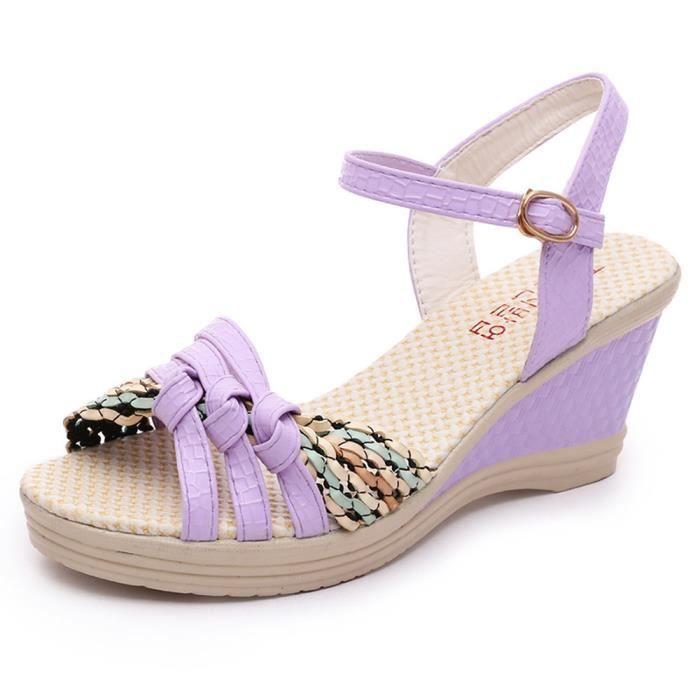 a08a1c8a1 Femmes Chaussures Compensées Mesdames Ete Chaussures Sandales Toe à talons  hauts Violet