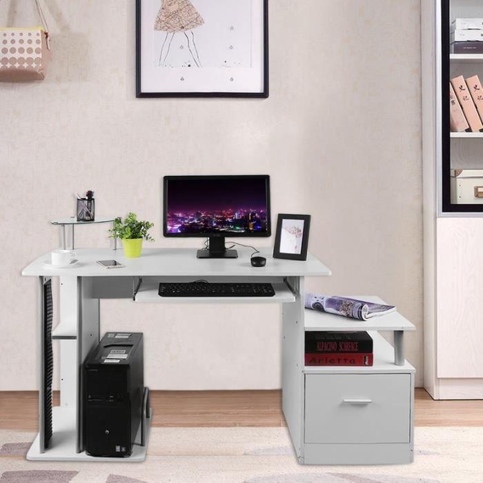 BLANCHE Table de PC Ordinateur Meuble Mobilier de bureau d'angle, Avec plateau et tiroir pour clavier