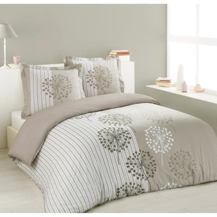Vision parure de couette anna 100 coton 1 housse de - Parure de lit beige et marron ...
