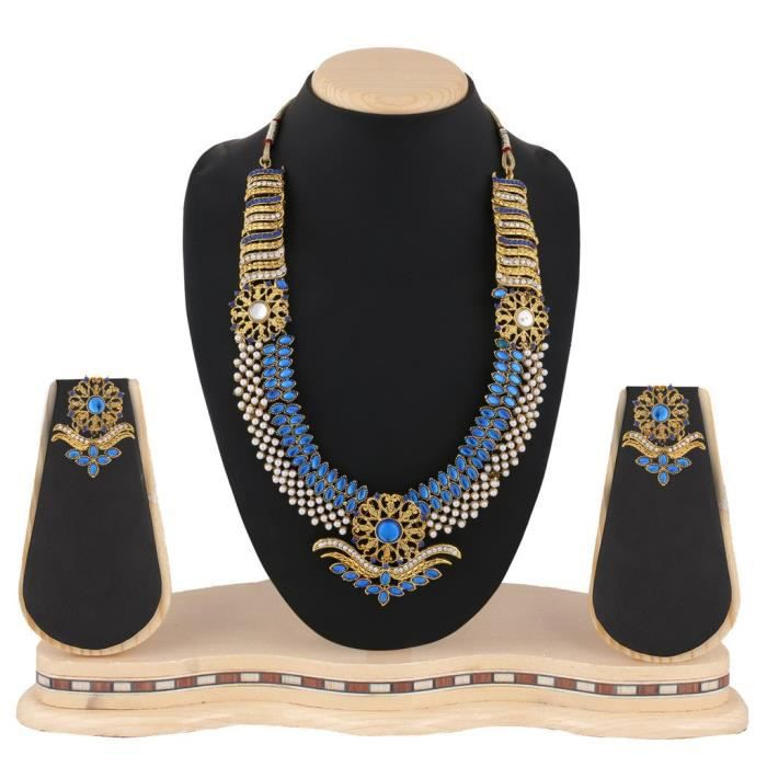 Womens Bridal Wedding Blue Metal Alloy Jewellery Set With Necklace And Earring ForOJ5OR