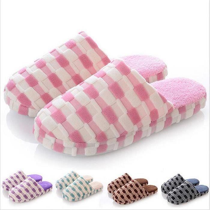 Supérieure pantoufles pantoufles chaudes peluche Qualité Coton chaud Confortable doux d'intérieur femmes pantoufles pantoufle SzqxApx