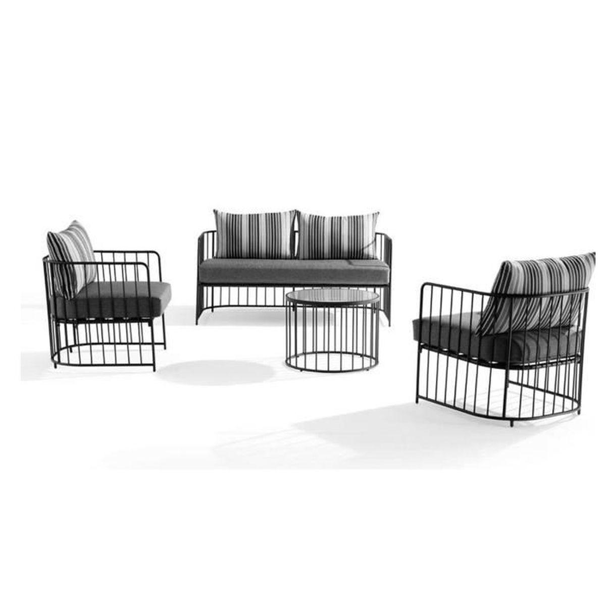 Salon bas VINTAGE en métal et coussins gris - Achat / Vente salon de ...