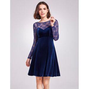 robe courte classique chic dentelle velours manche longue vas e et pliss e bleu bleu achat. Black Bedroom Furniture Sets. Home Design Ideas