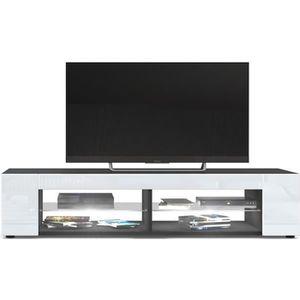 MEUBLE TV Meuble Tv   Noir mat  Façades en Blanc laquées led