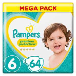 COUCHE Pampers Premium Protection Taille 6, 13+ kg, 64 Co