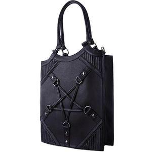 SAC À MAIN Sac à main noir imitation cuir entacle pentagramme