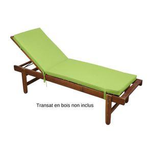 CHAISE LONGUE Coussin pour Bain de Soleil déhoussable, Vert/Anis