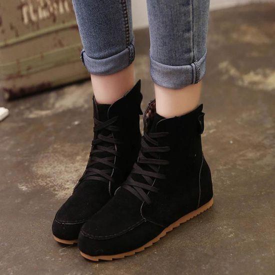 Chaussures@ Bottes en daim à lacets pour femmes Noir + 39 Noir Noir - Achat / Vente botte