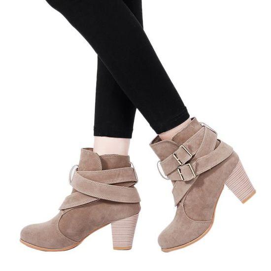 Femmes Casual Boucle Sangle Chaussures Martain Bottes Bottines de en daim talons hauts de Bottines démarrage qinhig683  Kaki - Achat / Vente botte 99ec04