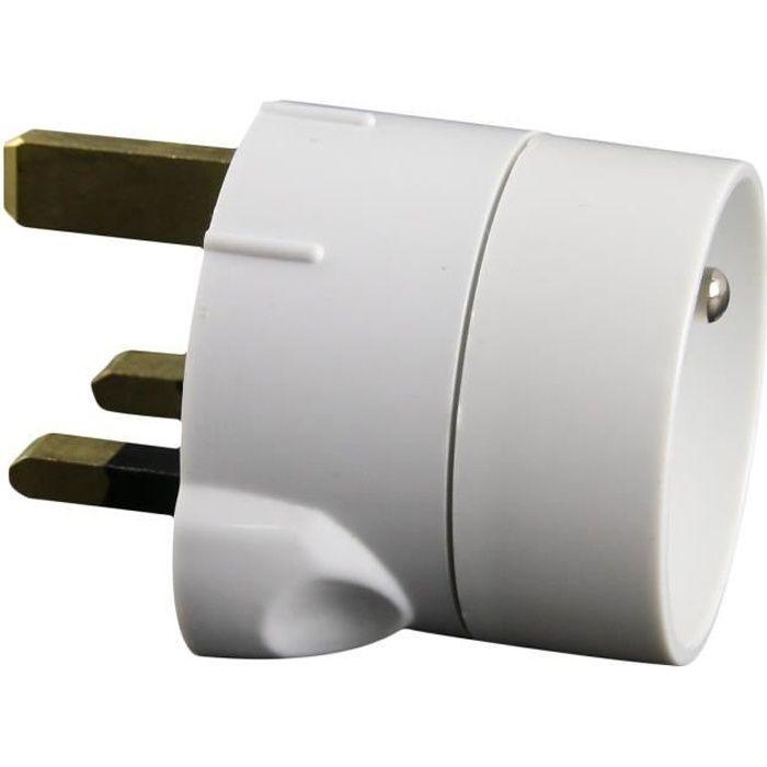 ZENITECH 240096 Adaptateur electrique fiche France vers UK blanc