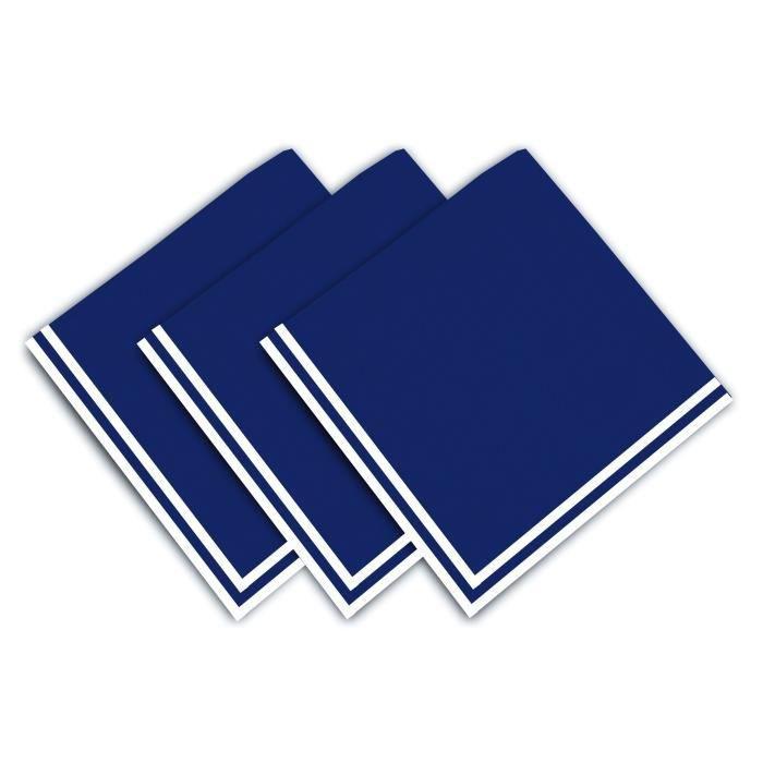 SOLEIL D'OCRE Lot de 3 servietes Chat - 100% coton - 45 x 45 cm - Bleu