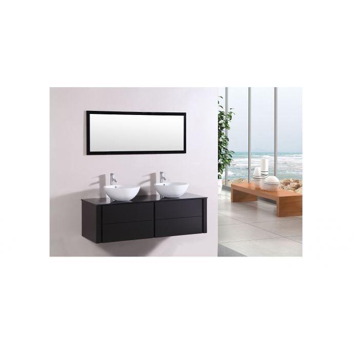 Le Ligure Wengé : Ensemble salle de bain meuble, 2 vasques, 1 miroir ...