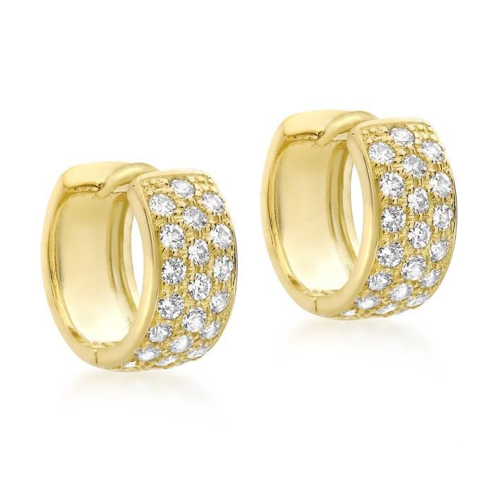 9 Ct Or Jaune Avec 12 Mm Pave Set Cubic Zirconia Huggy Earrings XNMEP