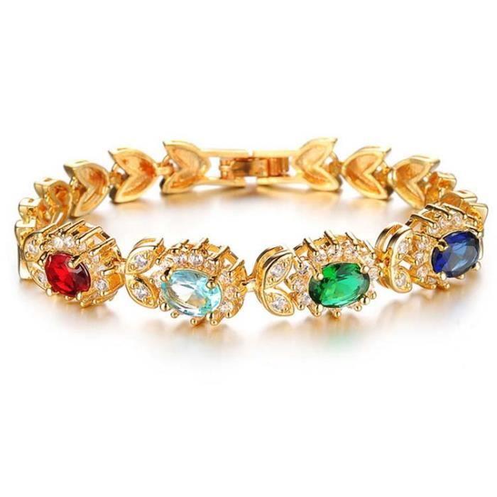 Femmes Bracelet de tennis Mixcolour Crystal18k plaqué orde mariage magnifiques Longueur 19cm