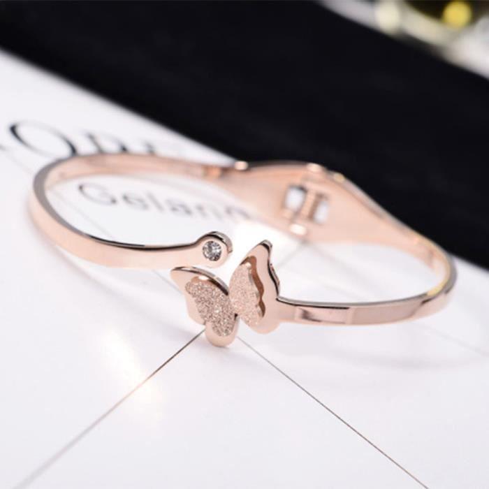 Fashion personalité gommage papillon bracelet en titane en acier 18k or rose bracelet féminin ne se fanent pas cadeau de bijoux