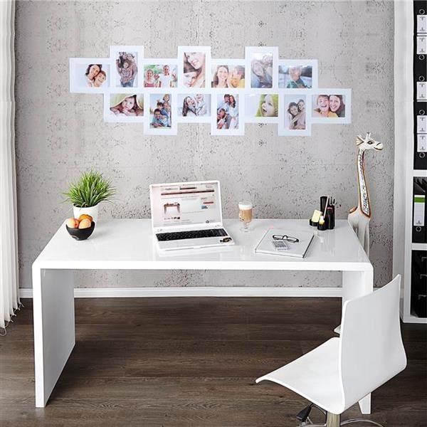 Bureau Laque Blanc Secretaire Blanc Brillant Lounge L160 X 60