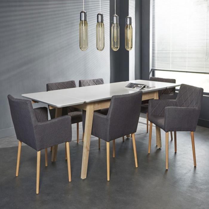 Table de salle à manger blanche et bois moderne FARELL - blanc et ...