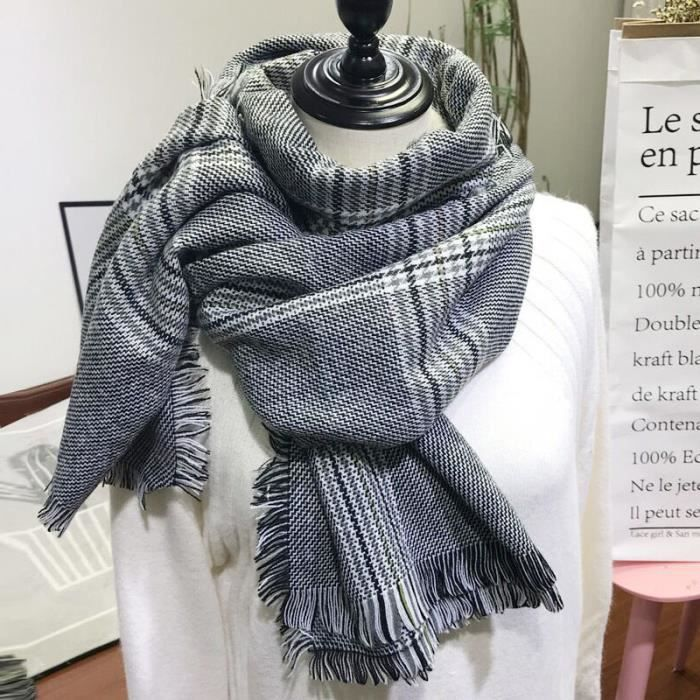 bda5d06e4deb Tooopfeel Echarpe Femmes Homme plaid frangée Femme laine Châle Cachemire  -Noir et Blanc