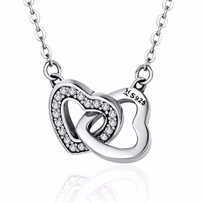 53639a67b118d Collier double cœur Argent sterling 925 Collier pendentif amour infini pour  femme Filles