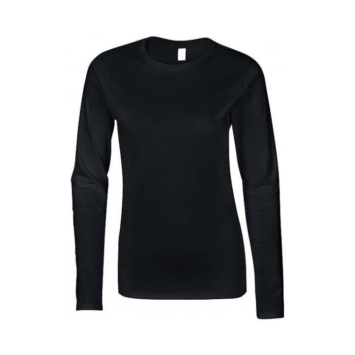 1e847bdfdfaf T-SHIRT Noir Femme MANCHES LONGUES léger.GI64400L-Marque GILDAN.100% coton  pré-rétréci.90% coton-10% polyester).Maille jersey.Col ro
