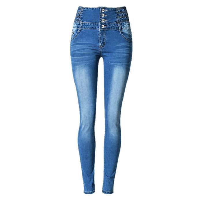 Femme Slim Femme Taille breasted Haute Bleu Jean Single Skinny Pour zxqO887dw