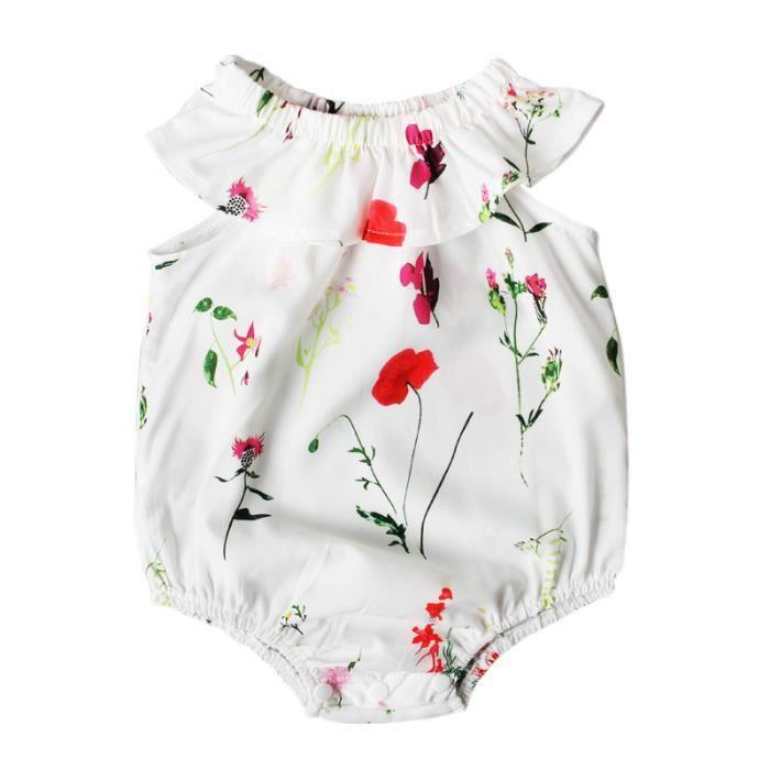 7943ae13bcdc9 0-24 Mois Fille Combishort à Fleurs Blanc Bébé Nouveau-né Combinaison  Grenouillère Barboteuse Tenue Été
