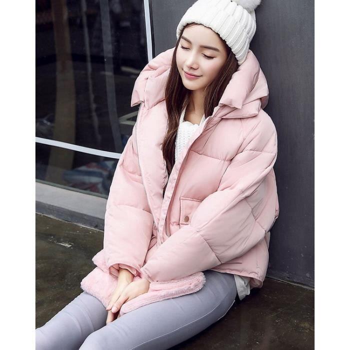 rose doudoune femme courte capuche en coton paisse manteau automne hiver fine et l g re. Black Bedroom Furniture Sets. Home Design Ideas