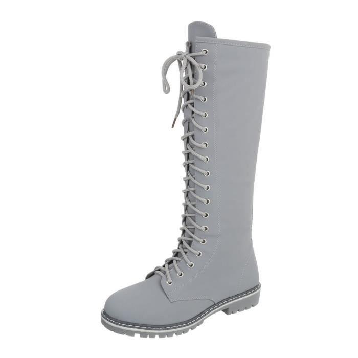 Chaussures femme bottes le laçage gris clair 41