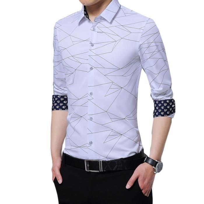 ae79cabb2d92 CLOUD STYLE 2018 nouvelle chemise homme mince à rayures coupe slim fit,  style casual, à manches longues, col, poignets en contraste