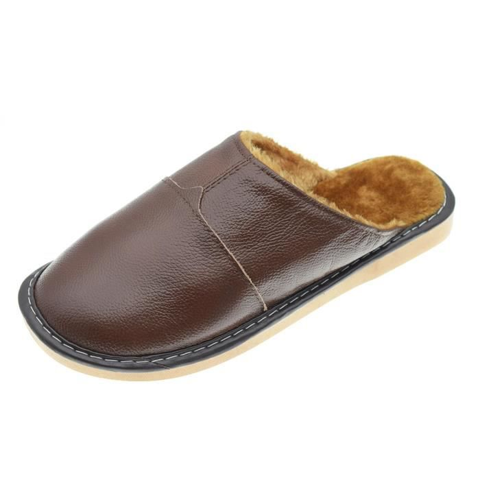 Home Plush Lined Indoor Home Leather Slipper Shoes For Men K8D7C Taille-43