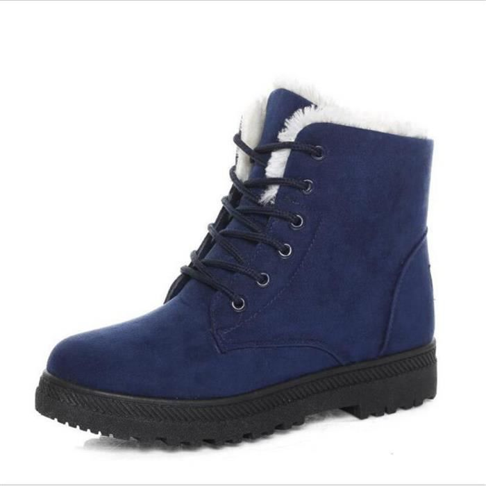 Bottine Femme hiver Classique peluche boots BMMJ-XZ003Bleu-36
