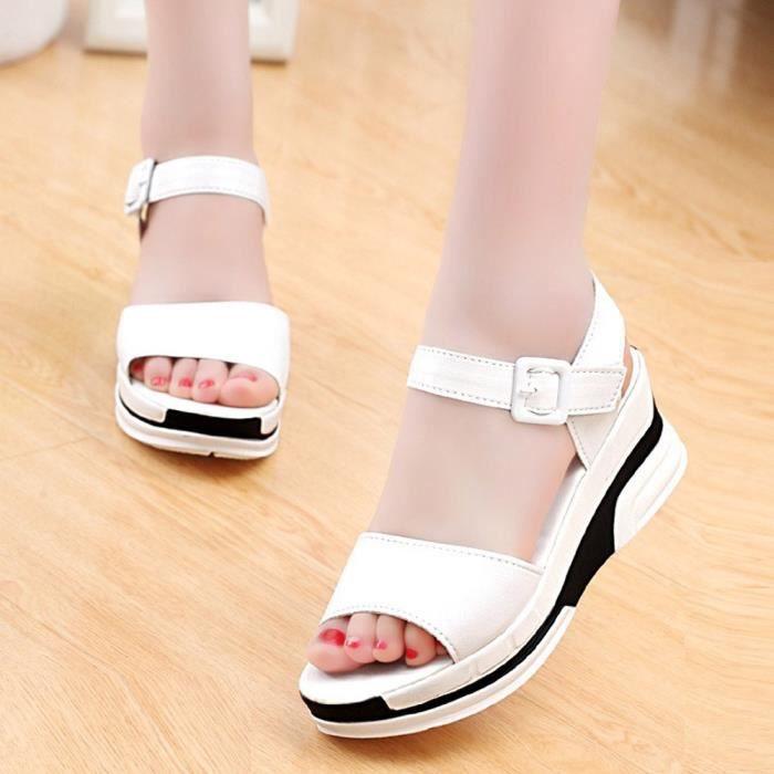 Peep Pour Chaussures Unie toe 39 Sandales Femme Couleur Blanc qaax56nfW