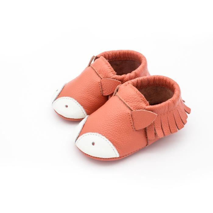 prix compétitif c7037 6826c Chaussure en Cuir Souple Chaussons Pour Enfant Bébé Garçon Fille Petit  renard mignon