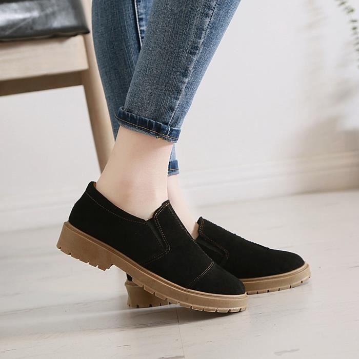 Les Chaussures En Bottes À on Martin Slip Toe rond Femmes Cheville Cuir Faible Casual Talkwemot7935 1awTqx1r