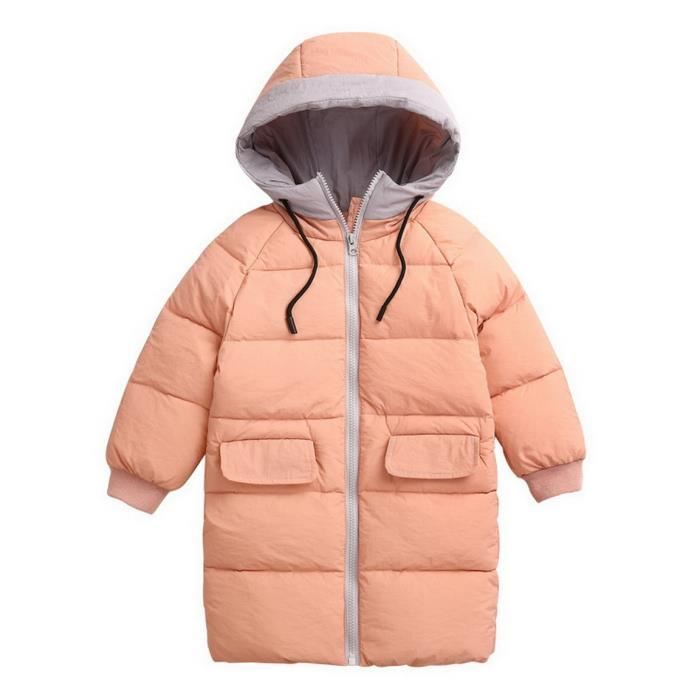 Manteau d'Hiver Enfant Unisexe Veste Doudoune Blouson à Capuche Zippé Souple Épais Chaud Automne Hiver avec Grandes Poches