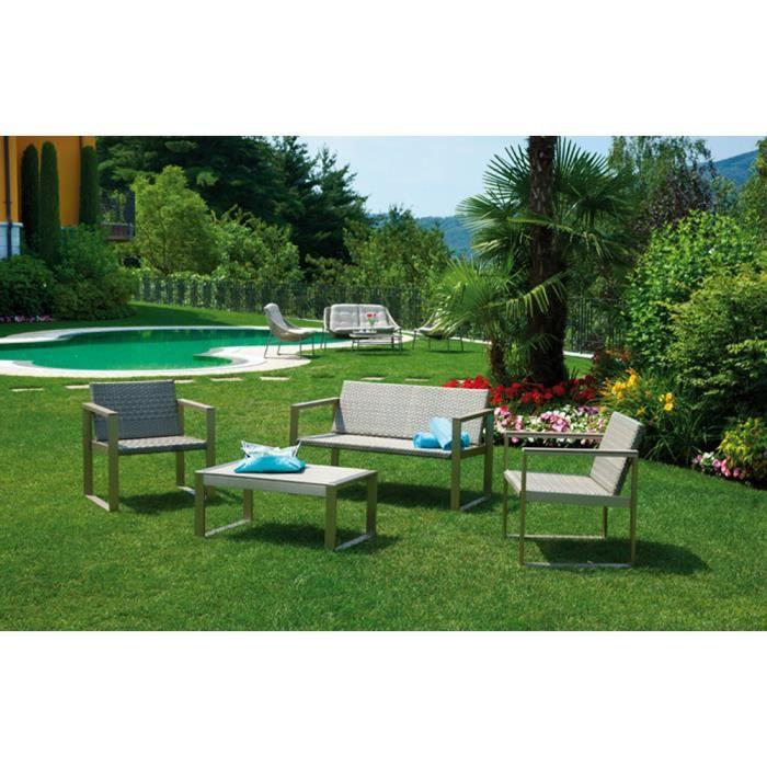 Salon jardin avec table + 2 fauteuils + sofa en bois - Achat ...