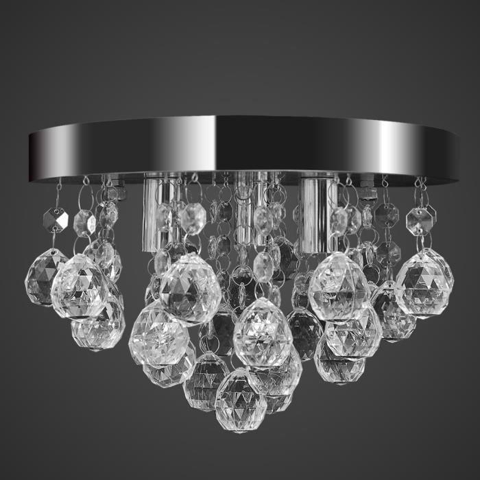 Lustre plafonnier contemporain en Cristal lampe chromé Design ...