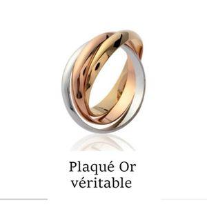 Bague 3 anneaux plaque or