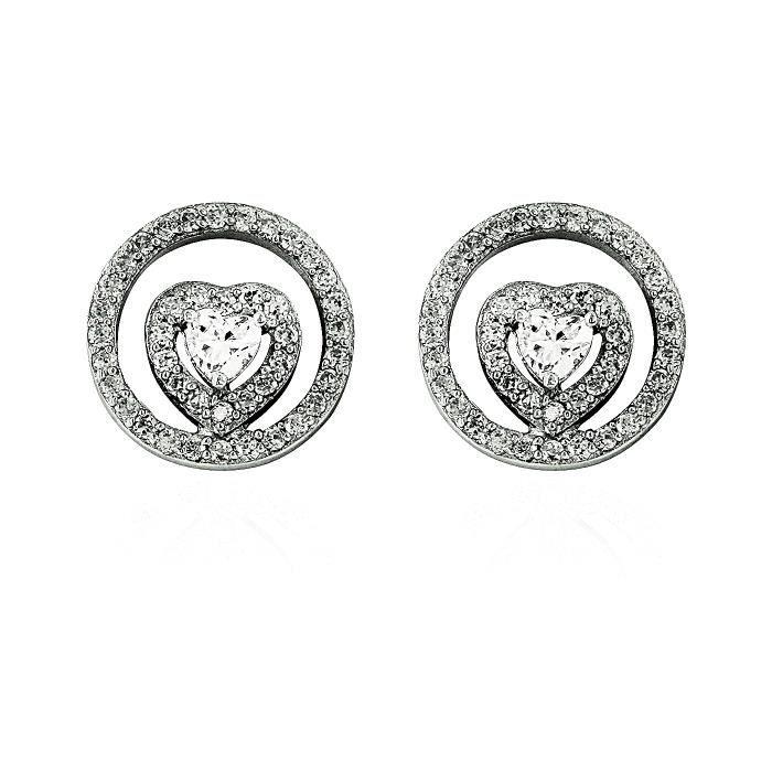 Boucles DOreilles Coeur Femme - Bijou Argent 925 - Zirconium ***
