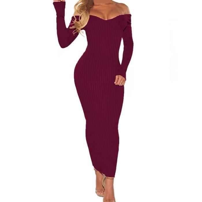 Les femmes sexy hors épaule à manches longues Slim robe de soirée élastique parti plage PP@Violet