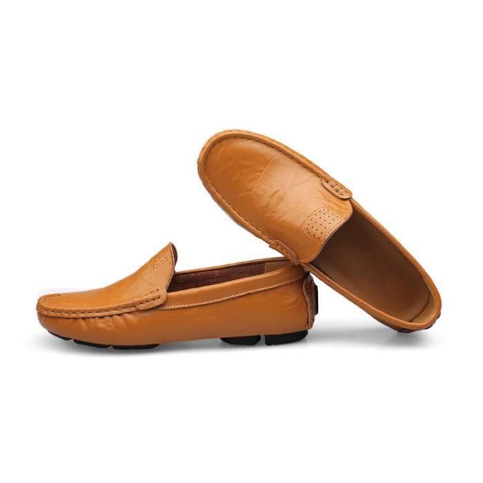 Mocassin Hommes Mode Chaussures Grande Taille Chaussures BBJ-XZ73Orange36