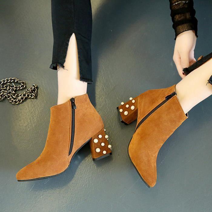 Carré Shoes Talon Femmes Décoration Qinhigs2018110451 Bottes De Perle Cheville Spring Casual w4xaCqnqI