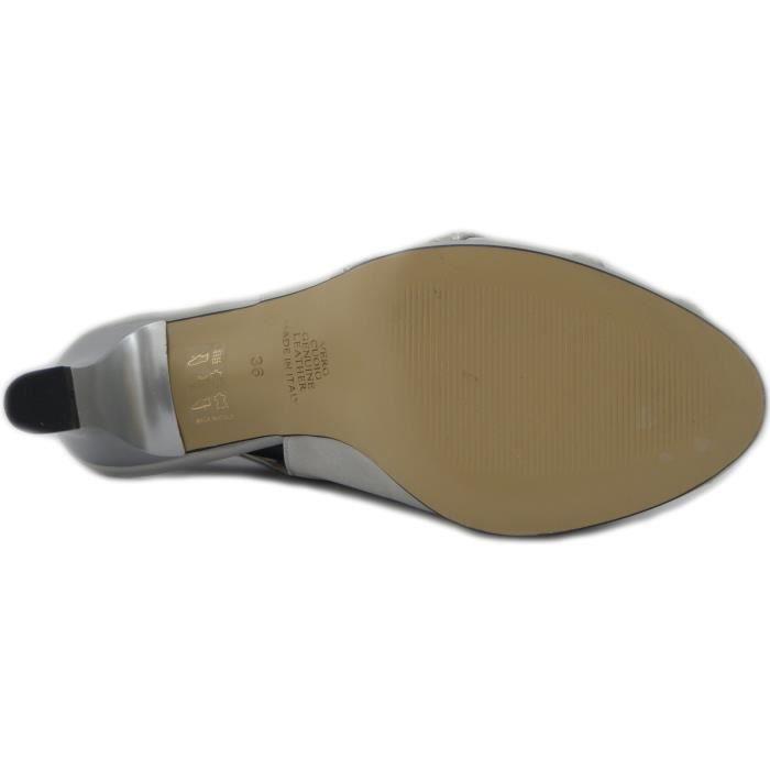 Osvaldo Pericoli Sandale élégant tissu de satin de couleur argent, avec le talon 6cm. et le plateau 1cm.- 7793 e17