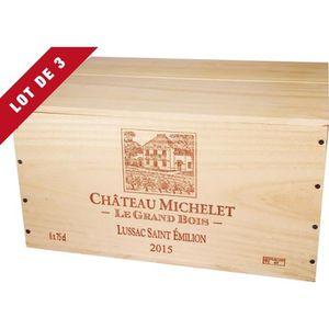 COFFRET CADEAU VIN 3X La Caisse Bois 6x75cl estampillé Château Michel