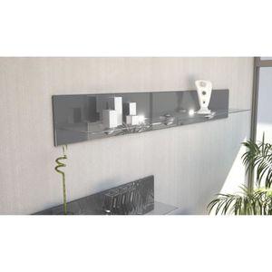 ETAGÈRE MURALE Etagère design en bois et verre grise  avec led 14